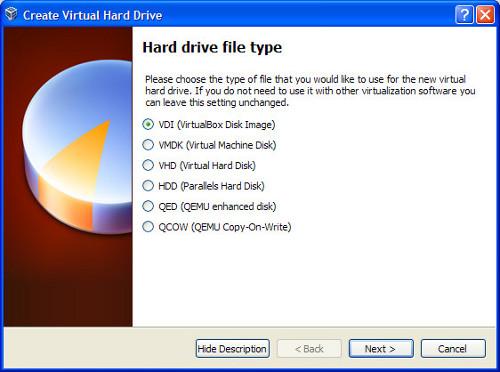在VirtualBox虚拟机中,VDI、VMDK、VHD或HDD,应该使用那个磁盘映像