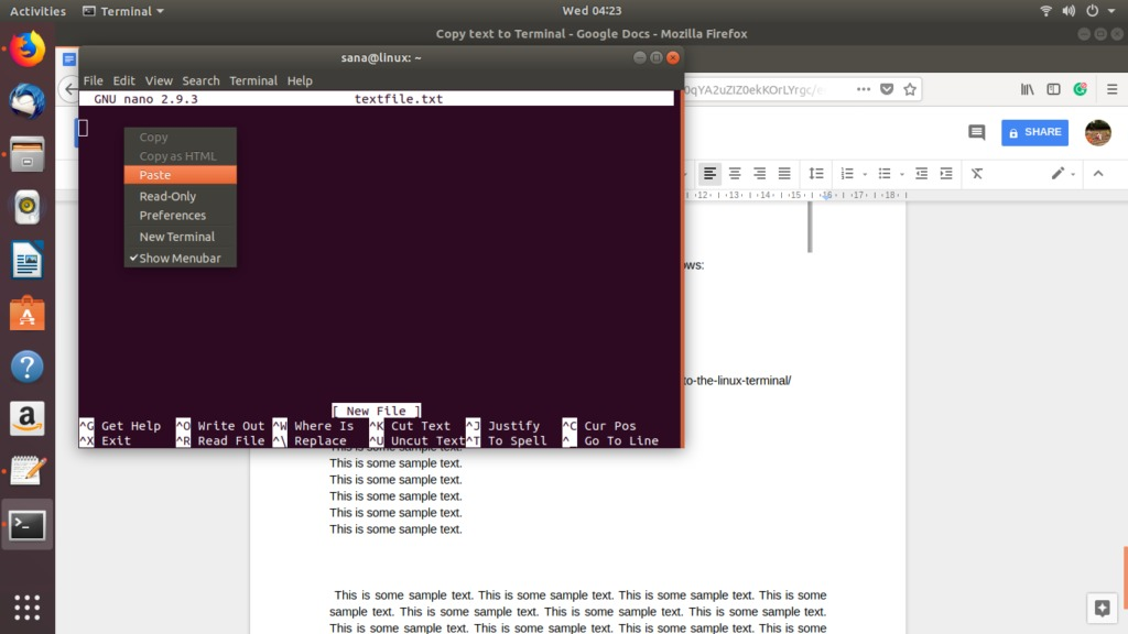 Paste the chunk of text to the commandline