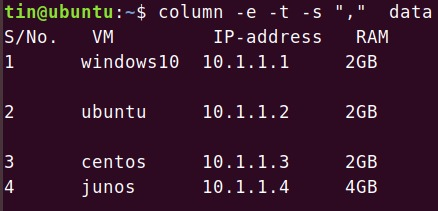 Linux column command in action