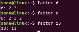 Factor command examples