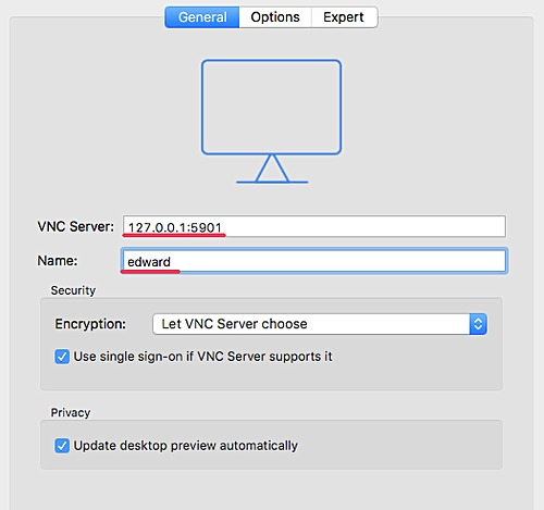 Open VNC viewer