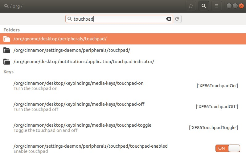 Search for touchpad settings